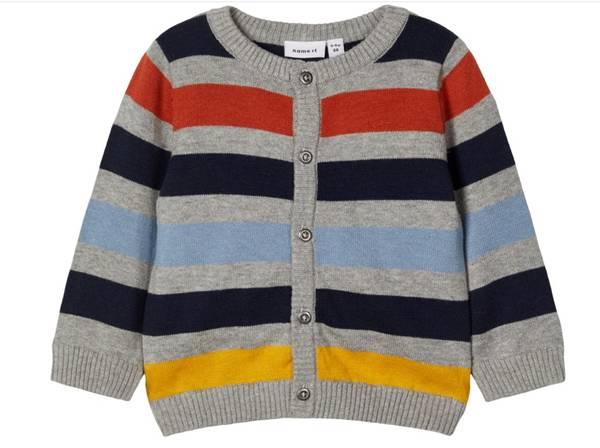 Bilde av Nbmnutat ls knit cardigan - grey melange